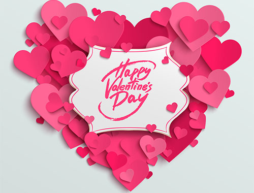 Happy Valentine's Day vector greeting card, brush pen lettering on white banner, paper hearts background